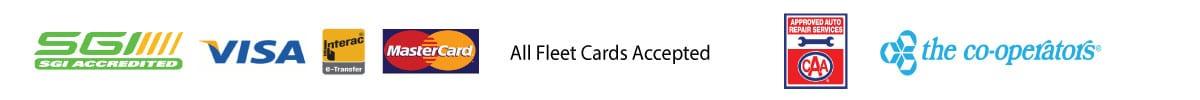 Logos of Payments accepted: SGI, VISA, Interac, Mastercard, All Fleet Cards, CAA and The Co-operators
